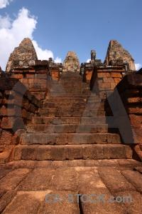 Sky cloud khmer brick prae roup temple.