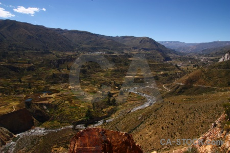 Sky colca river qullqa landscape valley.