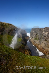 Sky dolomite point blowhole punakaiki bush.