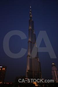 Sky dubai skyscraper night burj khalifa.