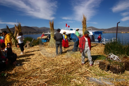 Sky lake titicaca south america andes floating island.
