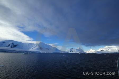 Sky landscape snowcap ice south pole.