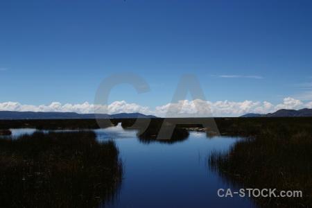 Sky landscape totora reed plant peru.