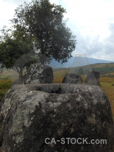 Sky laos site 2 lichen plain of jars.