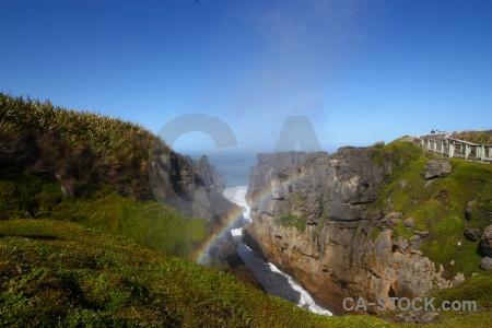 Sky limestone dolomite point blowhole south island.