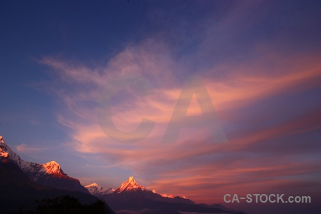 Sky modi khola valley sunset cloud trek.