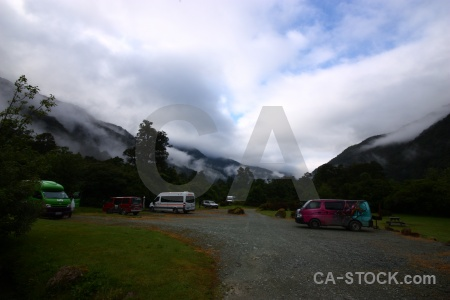 Sky new zealand fog mountain campervan.
