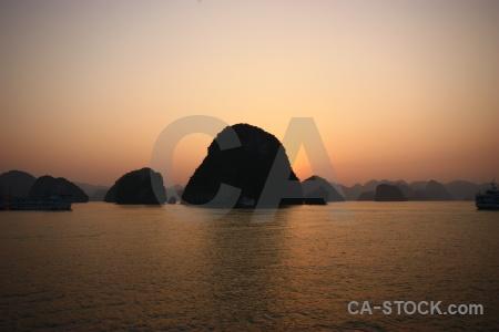 Sky silhouette mountain boat asia.
