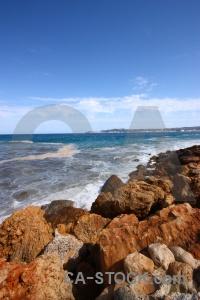 Sky spain rock water wave.