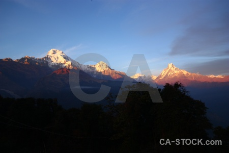 Sky sunset annapurna sanctuary trek asia himalayan.