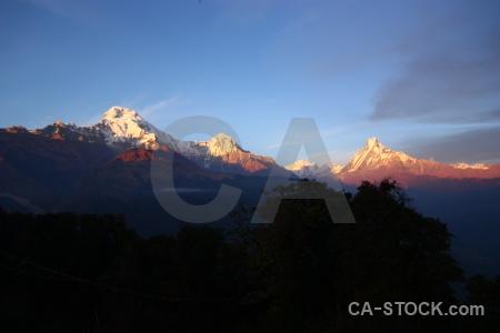 Sky sunset annapurna sanctuary trek asia himalayan.