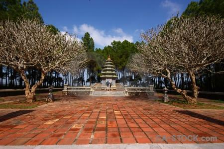 Sky thien mu pagoda garden southeast asia vietnam.