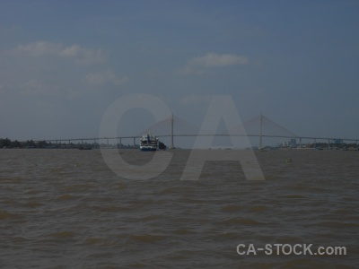 Sky vehicle cable stayed mekong delta river.