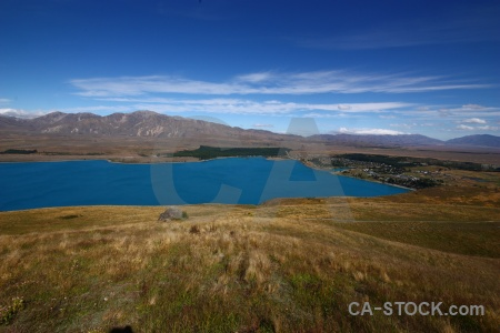 Sky water landscape new zealand mount john.