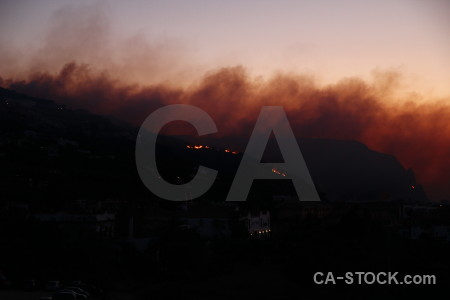 Smoke montgo fire javea europe spain.