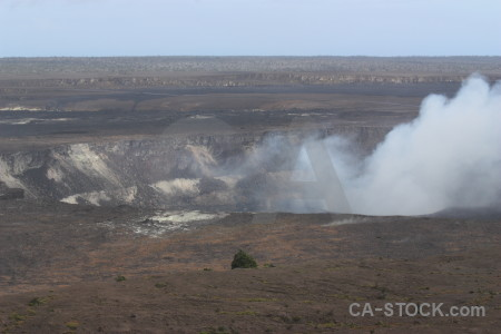 Smoke volcanic crater landscape.