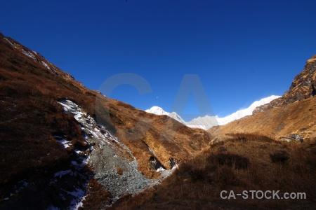 Snow asia altitude himalayan modi khola valley.
