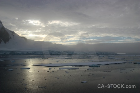 Snow channel fog sea antarctica.