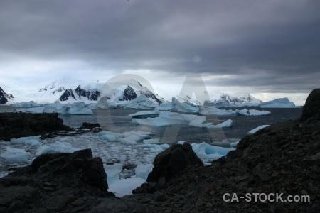 Snow cloud square bay antarctica iceberg.