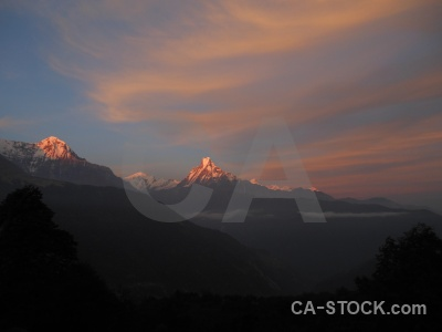 Snow modi khola valley nepal sky sunset.