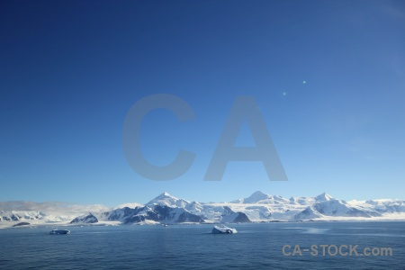Snowcap adelaide island antarctic peninsula south pole sky.
