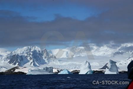 Snowcap ice cloud antarctic peninsula landscape.
