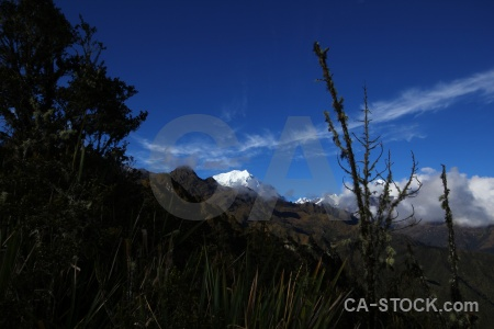 Snowcap inca trail altitude south america sky.