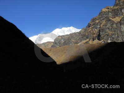 Snowcap mountain modi khola valley trek himalayan.