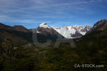 Snowcap mountain river trek patagonia.