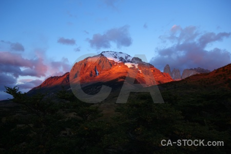Snowcap patagonia sunset sky trek.