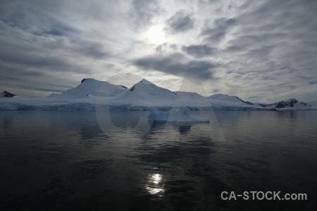 Snowcap reflection landscape sea cloud.