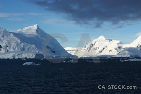 Snowcap sky south pole sea water.