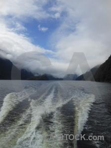 Sound sky mountain fiord wake.