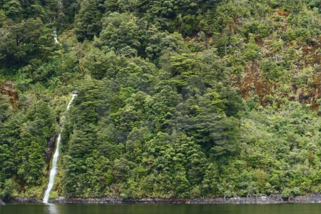 Sound south island fiord fiordland waterfall.