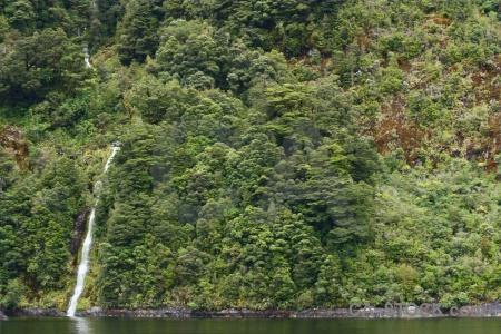 Sound south island fiord fiordland waterfall.