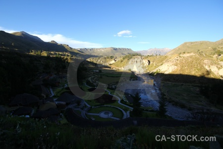 South america andes altitude colca river peru.