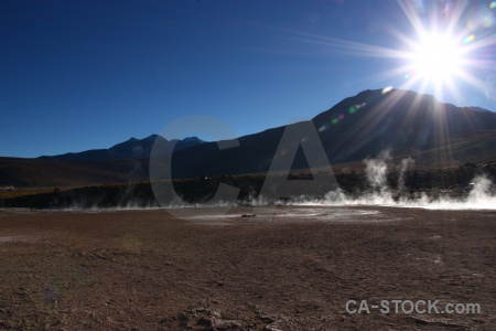 South america andes steam sun el tatio.