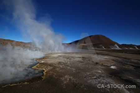 South america atacama desert geyser mountain landscape.