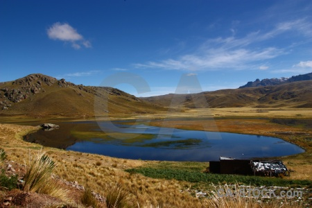 South america grass laguna lagunillas mountain landscape.