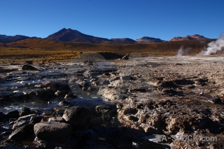 South america landscape mountain steam el tatio.