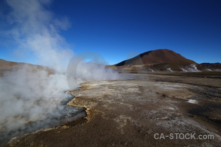 South america mountain chile steam geyser.