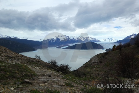 South america patagonia lake grey water sky.