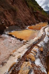 South america rock peru salt mine pool.