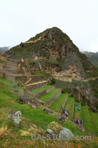 South america sacred valley stone terrace grass.