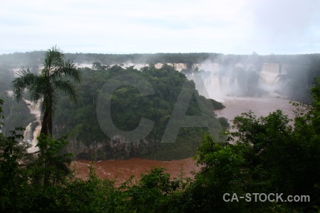 South america spray iguassu falls river iguazu.