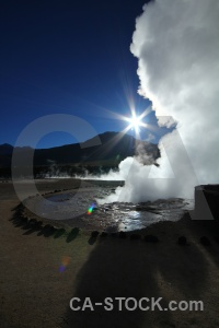South america steam andes el tatio geyser.