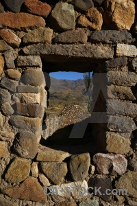 South america stone window peru andes.