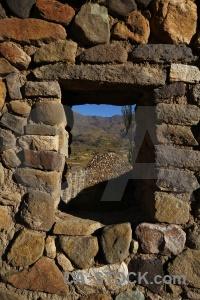 South america stone window peru andes.