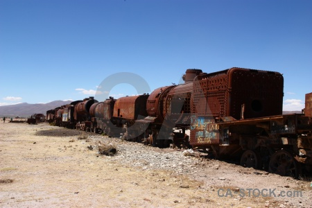 South america uyuni vehicle train cemetery wreck.