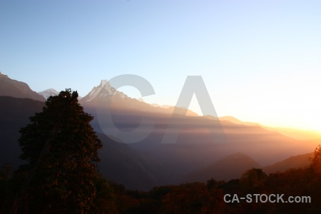South asia mountain sunrise annapurna sanctuary trek nepal.
